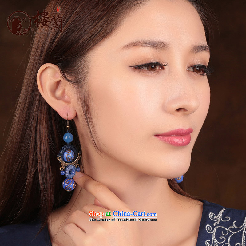 Blue glass earrings women ancient classical agate long temperament ear fall arrest girls China wind ear ornaments聽925 Yingerh Cod check_ANTI-ALLERGY plus 2 million