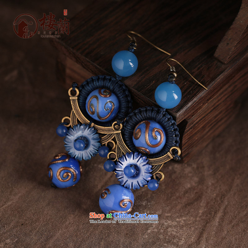Blue glass earrings women ancient classical agate long temperament ear fall arrest girls China wind ear ornaments ordinary alloy earhook copper-colored __, not easy to deform the hardness is high