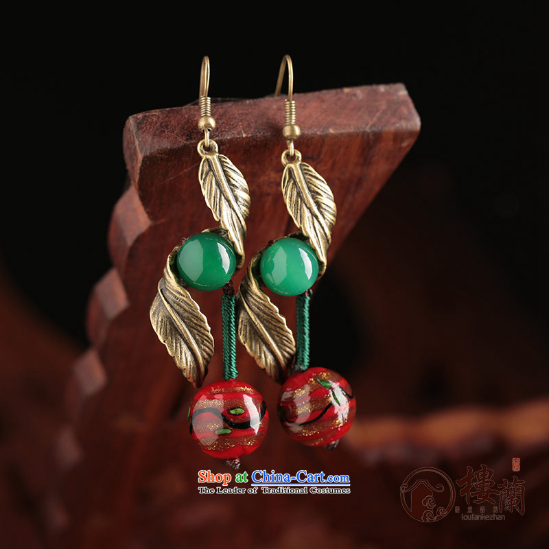 Green glass ornaments Red Agate ancient style China wind earrings long temperament female ancient ear ear ornaments fall arrest ordinary alloy earhook copper-colored __, not easy to deform the hardness is high