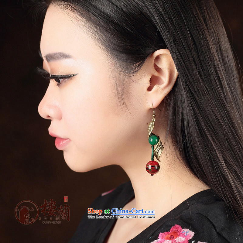 Green glass ornaments Red Agate ancient style China wind earrings long temperament female ancient ear ear ornaments fall arrest 925 Yingerh Cod check_ANTI-ALLERGY plus 2 million