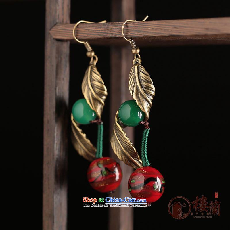 Green glass ornaments Red Agate ancient style China wind earrings long temperament female ancient ear ear ornaments fall arrester for Ear Clip copper-colored _Fit plus _2 No Kungkuan