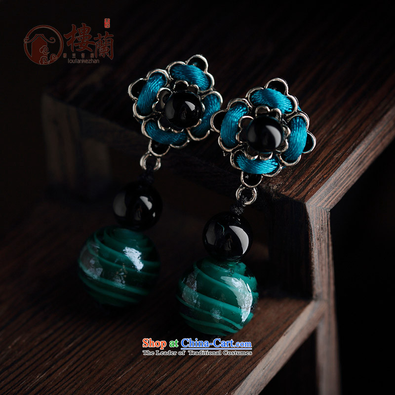 Original manually national retro China Wind Flower agate wild personality female ears pierced