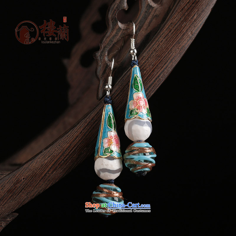 Ethnic earrings female long ancient ear ear fall arrester temperament hanging glass retro jewelry Cloisonne Accessory female plain alloy earhook __, not easy to deform the hardness is high