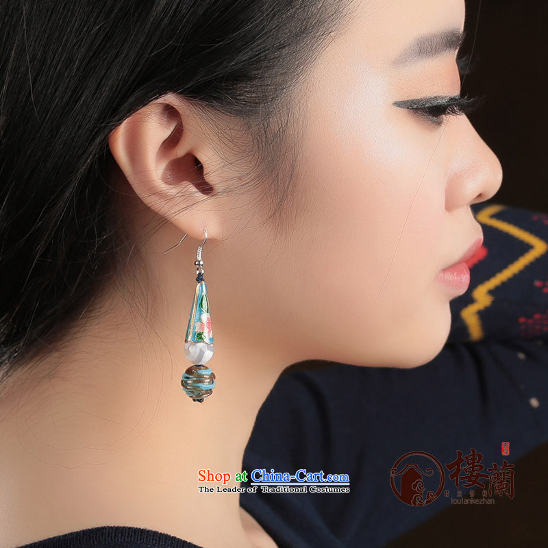 Ethnic earrings female long ancient ear ear fall arrester temperament hanging glass retro jewelry Cloisonne Accessory female聽925 Yingerh Cod check_ANTI-ALLERGY plus 2 million