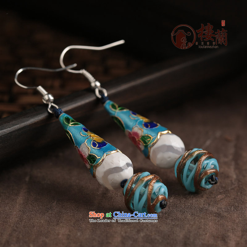 Ethnic earrings female long ancient ear ear fall arrester temperament hanging glass retro jewelry Cloisonne Accessory female switch Ear Clip Silver _Fit No Kungkuan plus 2 million