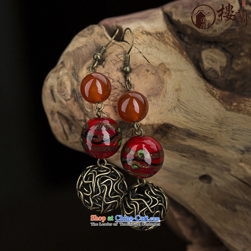 Original China wind earrings retro sheikhs wind ear fall arrest without Kungkuan glass agate short of Ear Ornaments ordinary alloy earhook copper-colored __, not easy to deform the hardness is high