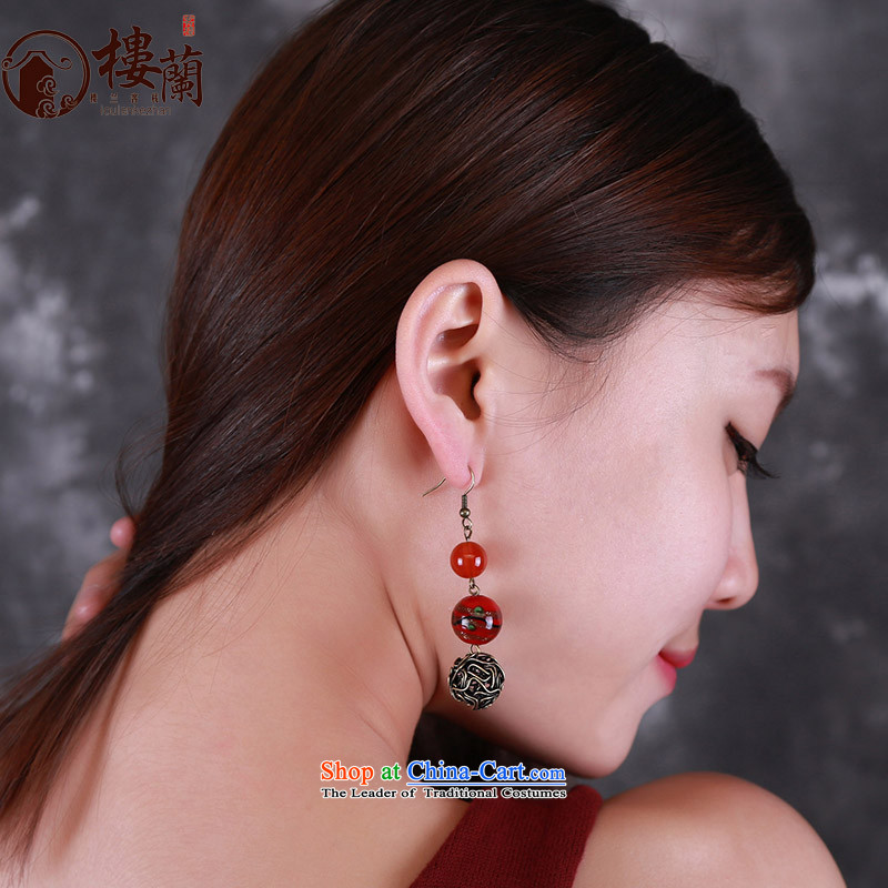 Original China wind earrings retro sheikhs wind ear fall arrest without Kungkuan glass agate short of Ear Ornaments聽925 Yingerh Cod check_ANTI-ALLERGY plus 2 million