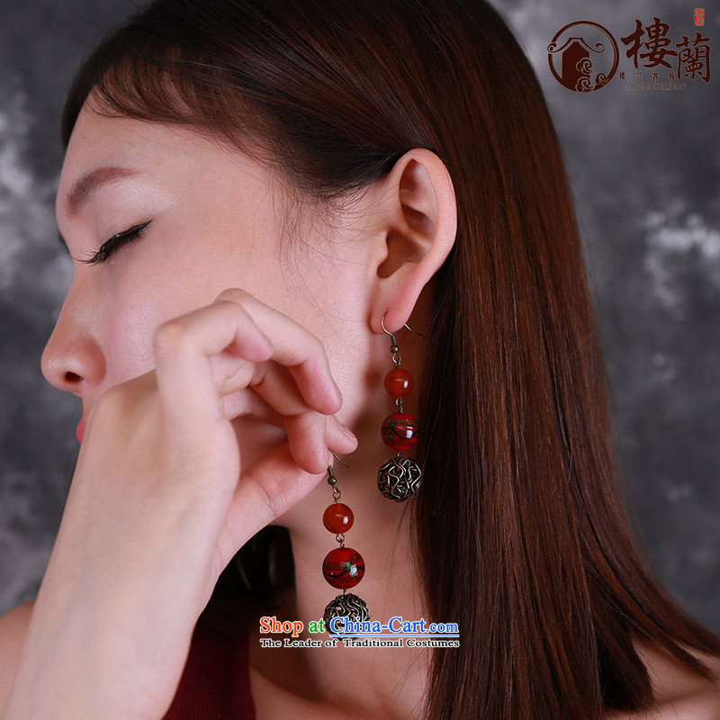 Original China wind earrings retro sheikhs wind ear fall arrest without Kungkuan glass agate short of Ear Ornaments Switch Ear Clip copper-colored _Fit plus _2 No Kungkuan