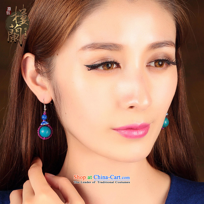 Ethnic earrings retro ear Fall Arrest China wind blue furnishings female short-Kungkuan Ear Clip Ear Ornaments聽925 Yingerh Cod check_ANTI-ALLERGY plus 2 million