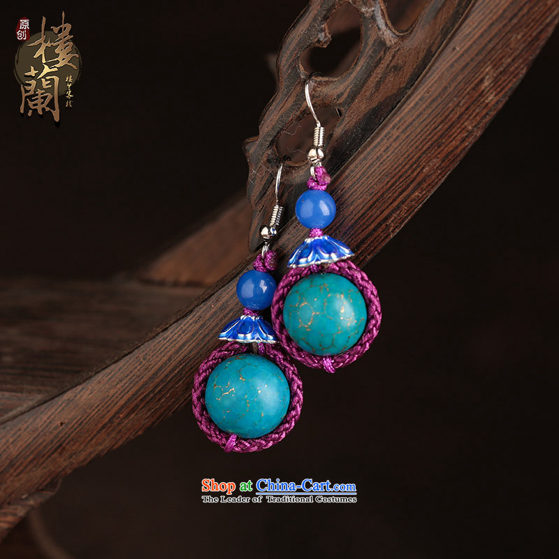 Ethnic earrings retro ear Fall Arrest China wind blue furnishings female short-Kungkuan Ear Clip Ear Ornaments ordinary alloy earhook copper-colored __, not easy to deform the hardness is high