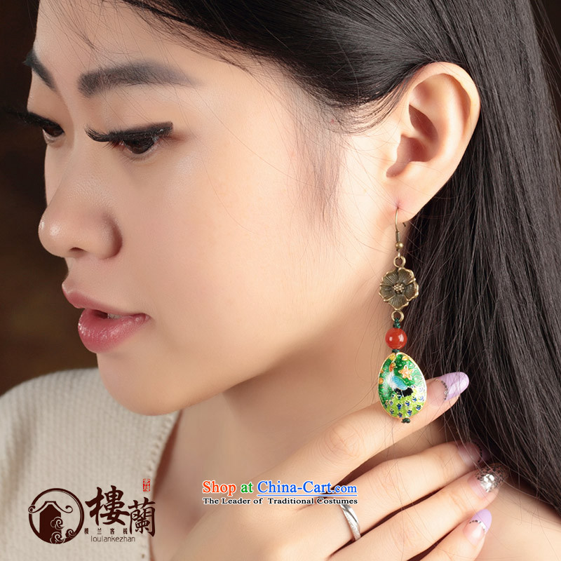 China wind Cloisonne Accessory agate ornaments of ethnic earrings no Kungkuan Ear Clip retro ear fall arrest girls聽925 Yingerh Cod check_ANTI-ALLERGY plus 2 million