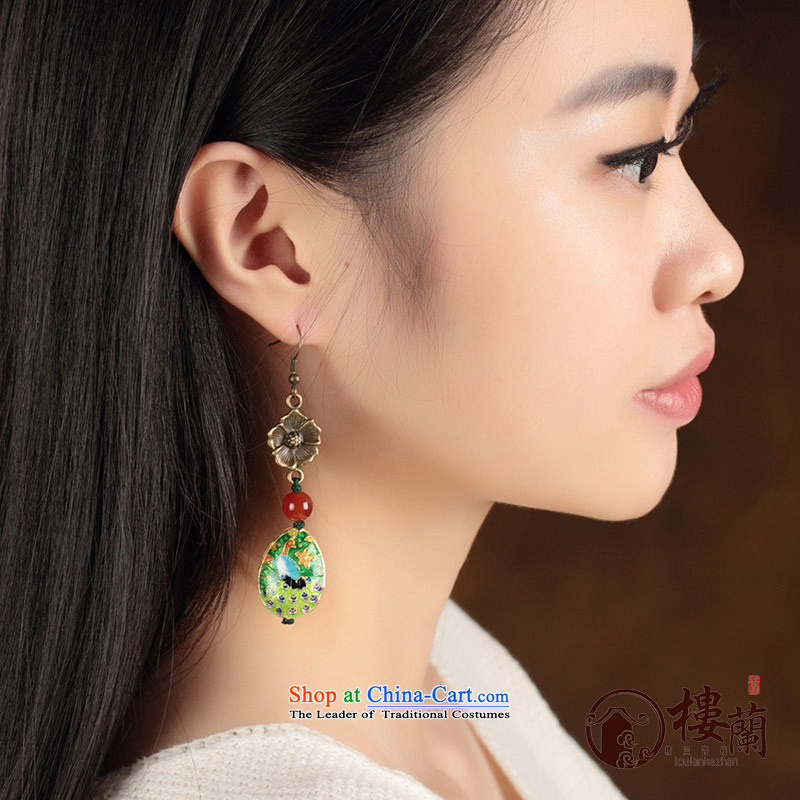 China wind Cloisonne Accessory agate ornaments of ethnic earrings no Kungkuan Ear Clip retro ear fall arrest girls between Ear Clip copper-colored _Fit plus _2 No Kungkuan