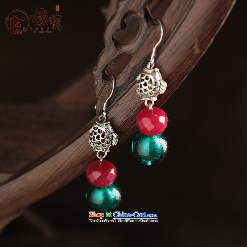 Glass Classical Chinese earrings sheikhs wind ears pierced ears female retro-ornaments of ethnic ear fall arrest ordinary alloy earhook __, not easy to deform the hardness is high