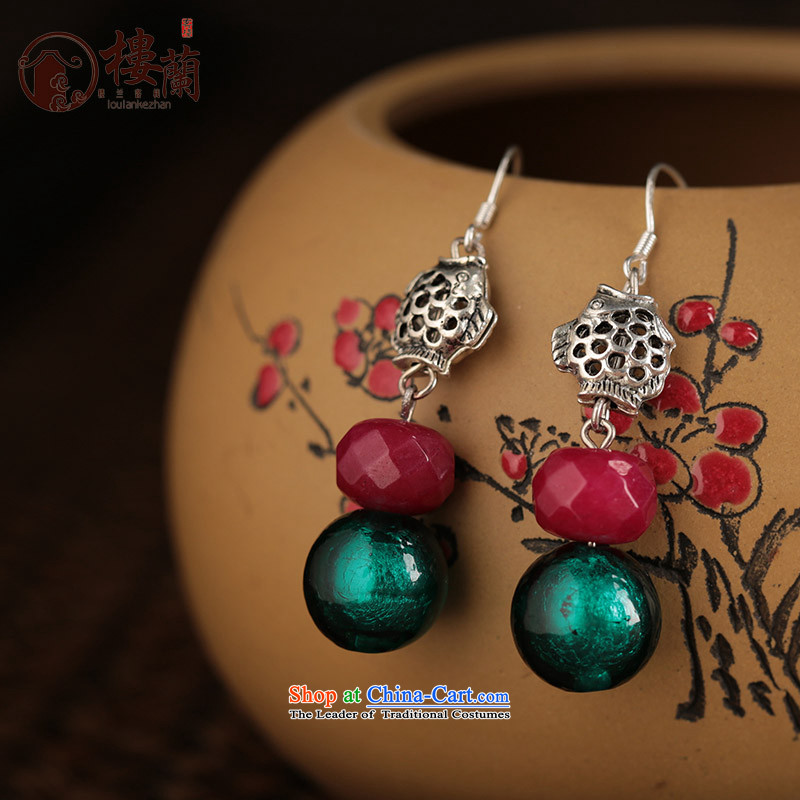 Glass Classical Chinese earrings sheikhs wind ears pierced ears female retro-ornaments of ethnic fall arrester for聽examination by the EAR 925_ANTI-ALLERGY plus 2 million
