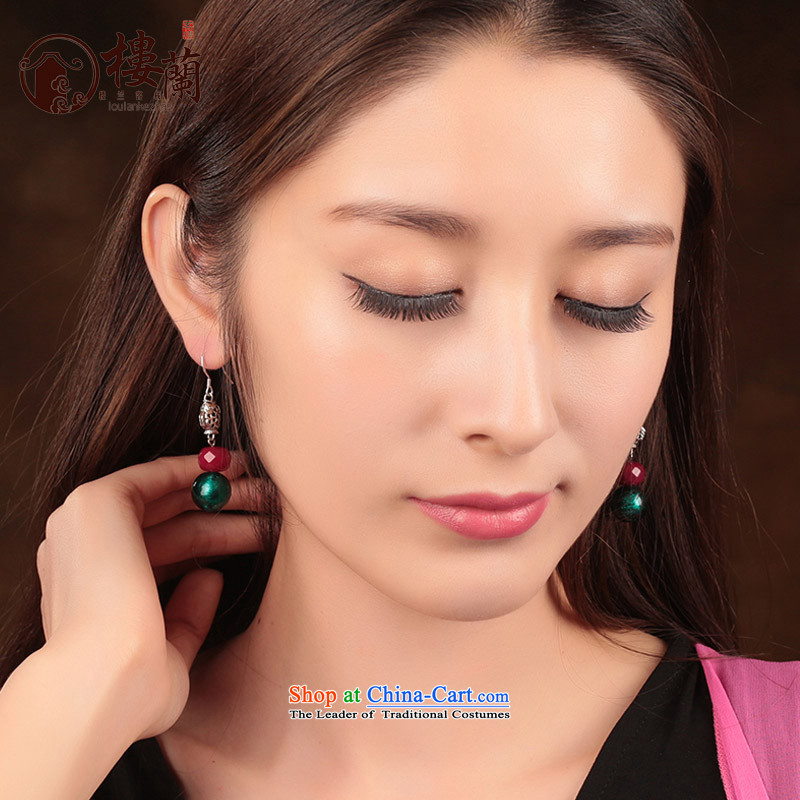 Glass Classical Chinese earrings sheikhs wind ears pierced ears female retro-ornaments of ethnic fall arrester for examination by the EAR 925_ANTI-ALLERGY plus 2 Yuan, possession of the United States , , , shopping on the Internet