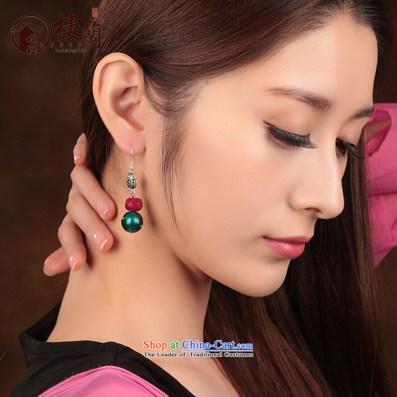 Glass Classical Chinese earrings sheikhs wind ears pierced ears female retro-ornaments of ethnic ear fall between Ear Clip Silver _Fit No Kungkuan plus 2 million