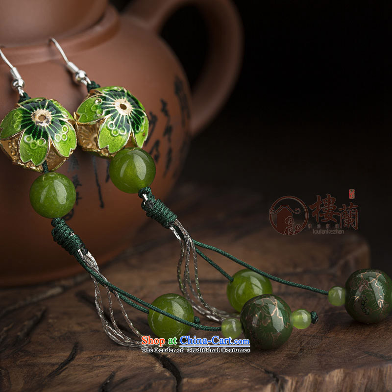 Green Cloisonne Accessory ethnic earrings ear fall arrest long ancient aura Stylish ornaments wind sheikhs female switch Ear Clip Silver _Fit No Kungkuan plus 2 million
