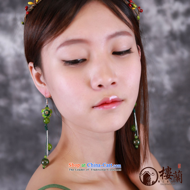 Green Cloisonne Accessory ethnic earrings ear fall arrest long ancient aura Stylish ornaments wind sheikhs female 925 Yingerh Cod check_ANTI-ALLERGY plus 2 million