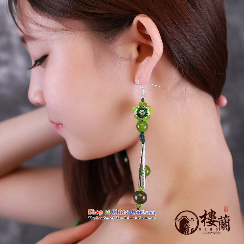 Green Cloisonne Accessory ethnic earrings ear fall arrest long ancient aura Stylish ornaments wind sheikhs female plain alloy earhook __, not easy to deform the hardness is high