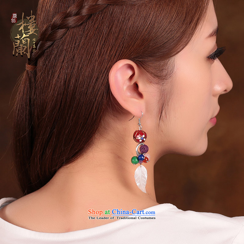 Seashell leaves glass powder Crystal Jewelry products ancient style of ethnic earrings ear fall arrest long female聽925 Yingerh Cod check_ANTI-ALLERGY plus 2 million