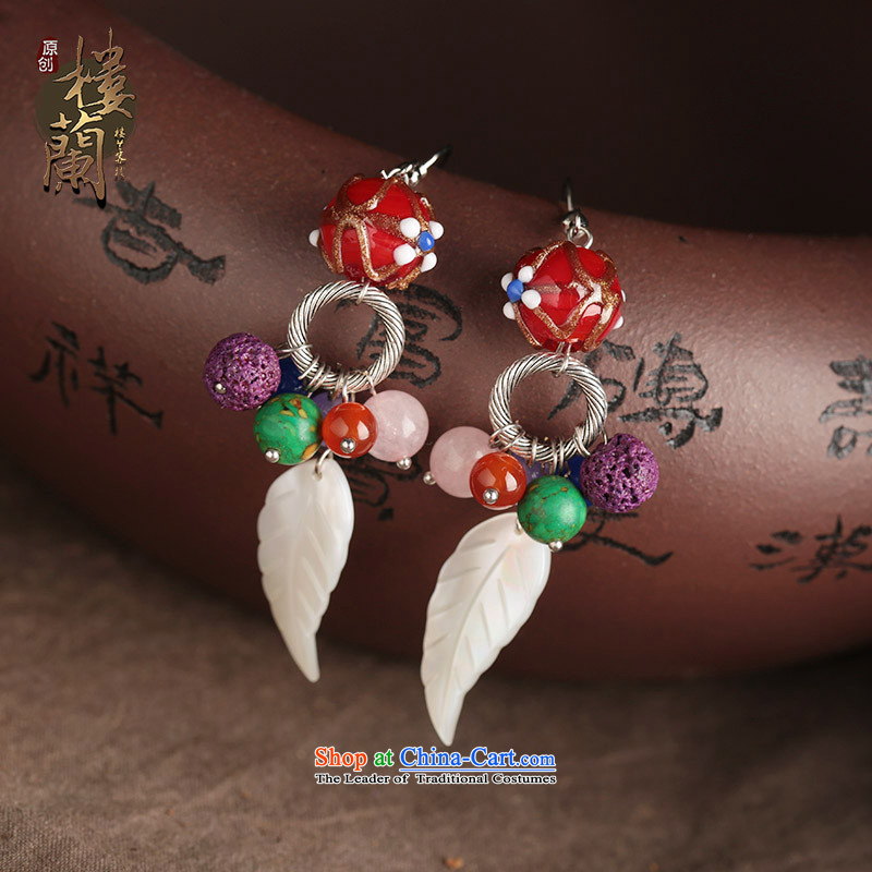 Seashell leaves glass powder Crystal Jewelry products ancient style of ethnic earrings ear fall arrest long female plain alloy earhook copper-colored_high hardness is not easily