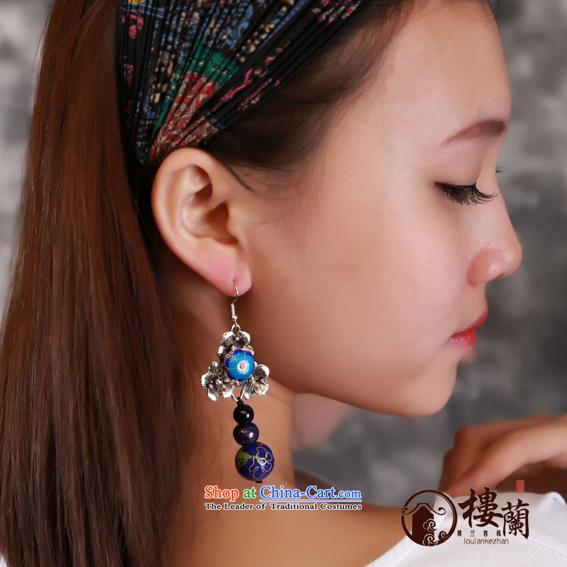 Blue Cloisonne Accessory ceramic ethnic earrings clip-on no Kungkuan ear fall arrest retro China wind ear ornaments switch Ear Clip copper-colored _Fit plus _2 No Kungkuan