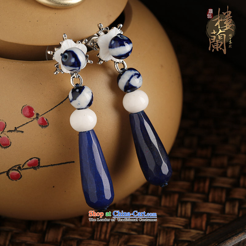 Blue Porcelain china wind ear ornaments classical ears pierced ears long fall arrest girls of ethnic Earrings