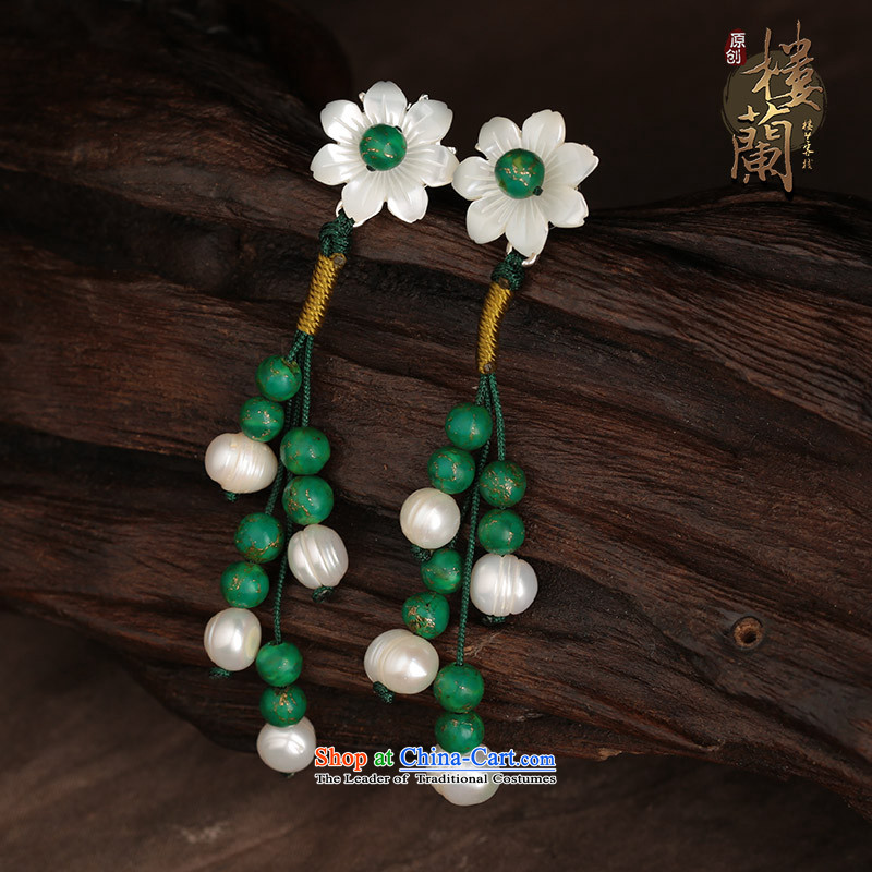 Ethnic ears pierced earrings long temperament female flowers green costume ancient shell Ear Ornaments