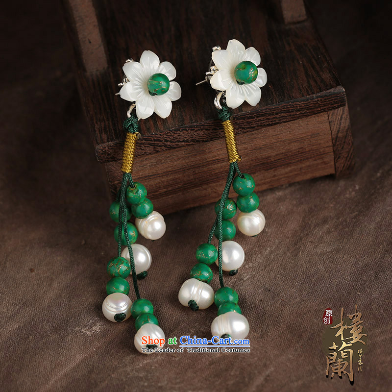Ethnic ears pierced earrings long temperament female flowers green costume ancient shell ear ornaments, possession of the United States , , , shopping on the Internet