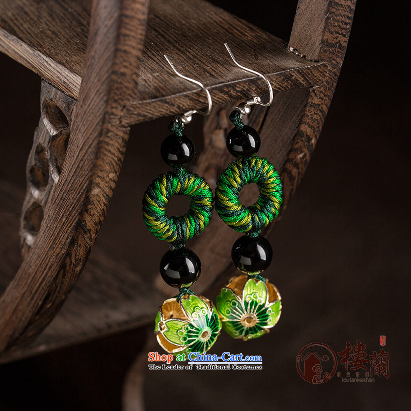 Long Green Cloisonne Accessory decor original earrings manually ornaments ear ancient China wind ear fall arrest girls ordinary alloy earhook __, not easy to deform the hardness is high