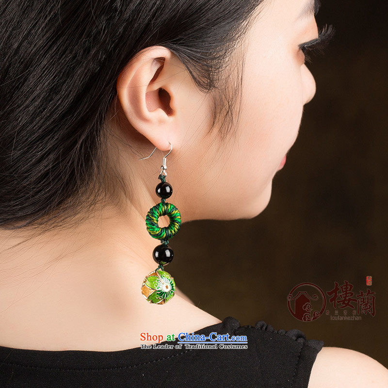 Long Green Cloisonne Accessory decor original earrings manually ornaments ear ancient China wind ear fall arrest girls 925 Yingerh Cod check_ANTI-ALLERGY plus 2 million