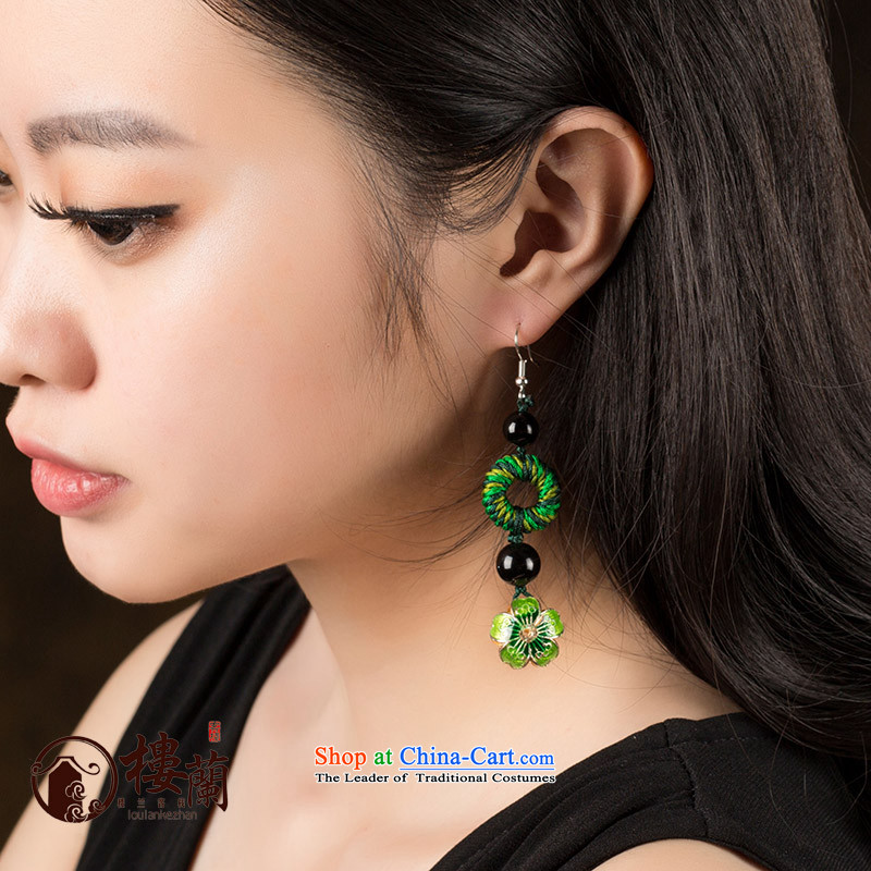 Long Green Cloisonne Accessory decor original earrings manually ornaments ear ancient China wind fall arrest girls between the ear ear clip silver _Fit No Kungkuan plus 2 million