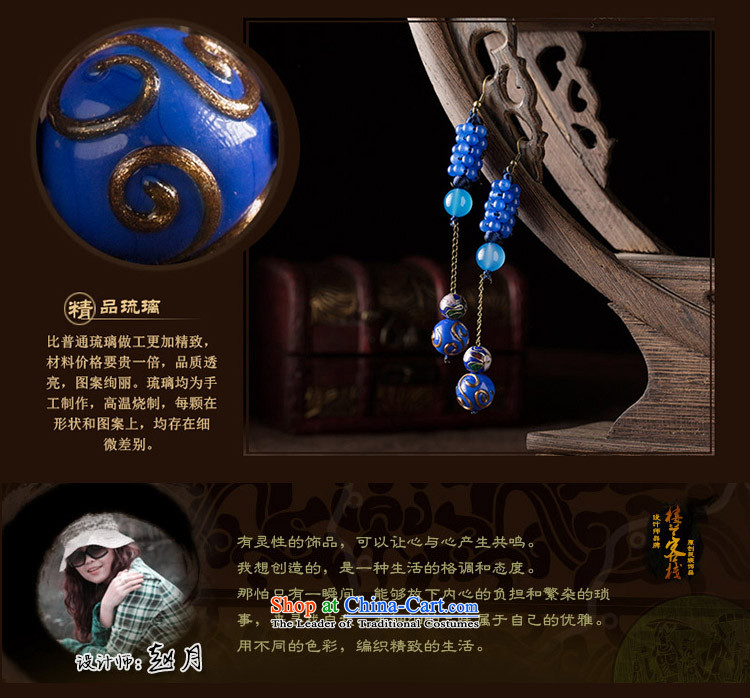 Blue glass earrings classic Chinese Wind Cloisonne Accessory jewelry ancient long ear ear ornaments female plain fall arrester alloy earhook copper-colored_high hardness, not easy to deform picture, prices, brand platters! The elections are supplied in the national character of distribution, so action, buy now enjoy more preferential! As soon as possible.