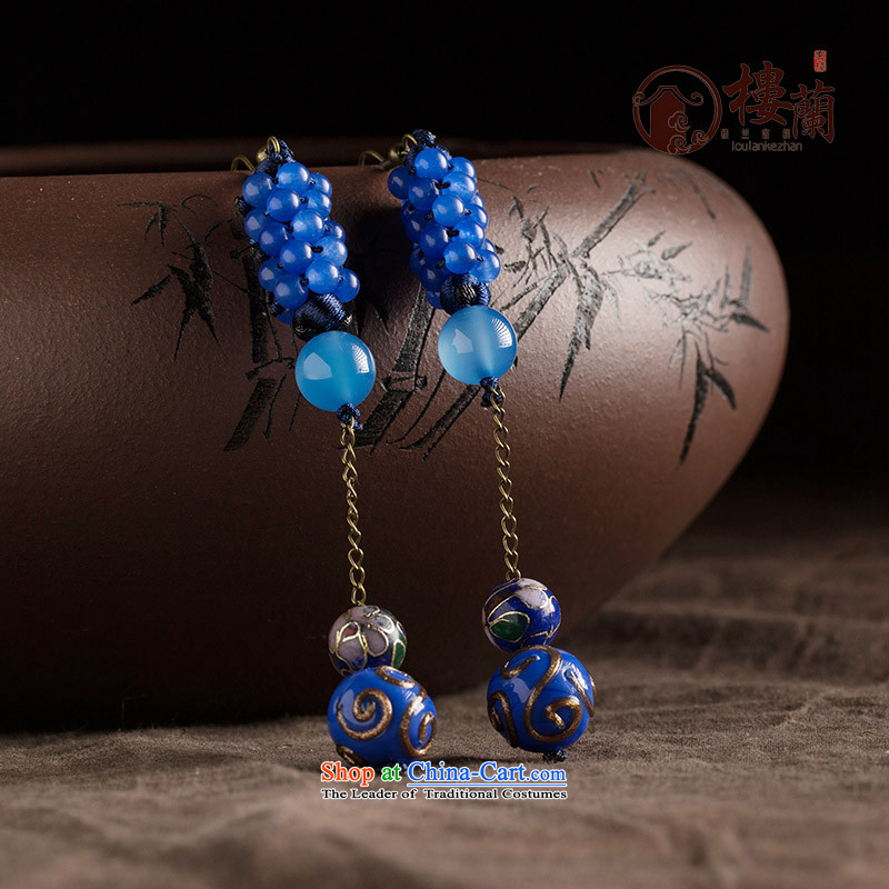 Blue glass earrings classic Chinese Wind Cloisonne Accessory jewelry ancient long ear ear ornaments female plain fall arrester alloy earhook copper-colored __, not easy to deform the hardness is high