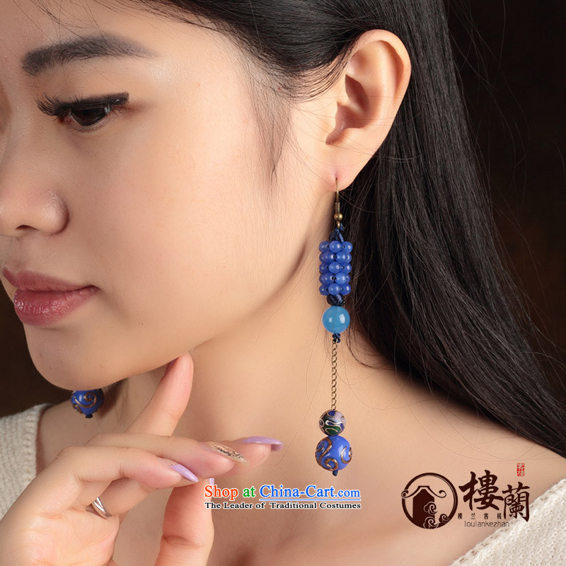 Blue glass earrings classic Chinese Wind Cloisonne Accessory jewelry ancient long ear ear ornaments female plain fall arrester alloy earhook copper-colored_high hardness, not easy to deform, possession of the United States , , , shopping on the Internet