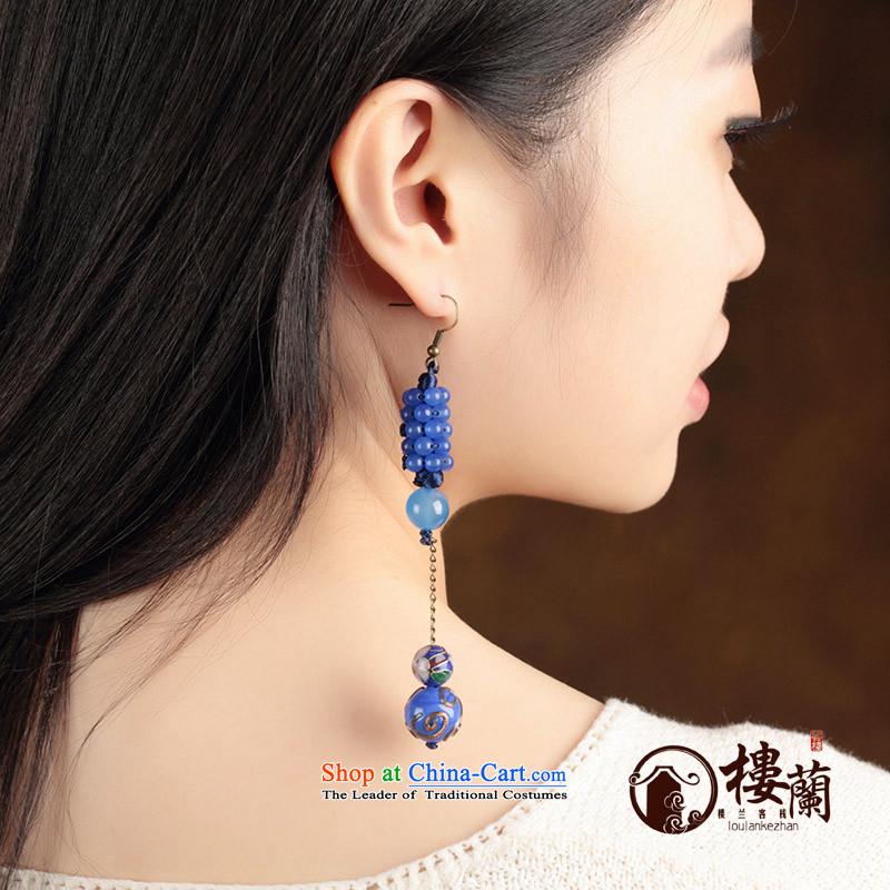 Blue glass earrings classic Chinese Wind Cloisonne Accessory jewelry ancient long ear ear ornaments women fall arrest聽925 Yingerh Cod check_ANTI-ALLERGY plus 2 million
