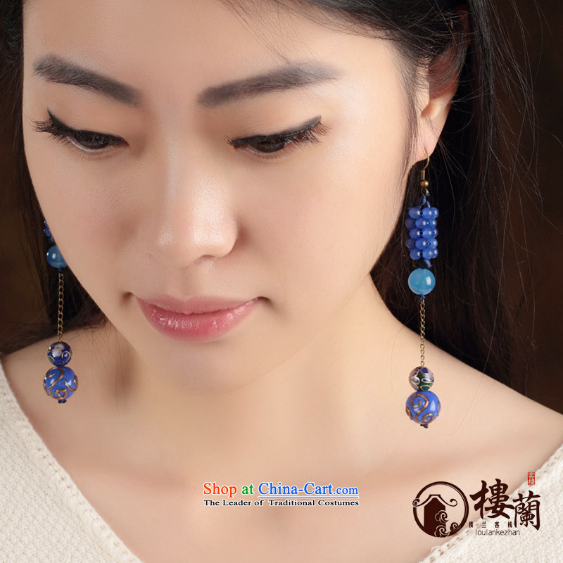 Blue glass earrings classic Chinese Wind Cloisonne Accessory jewelry ancient long ear ear ornaments girls between the fall arrester Ear Clip copper-colored _Fit plus _2 No Kungkuan
