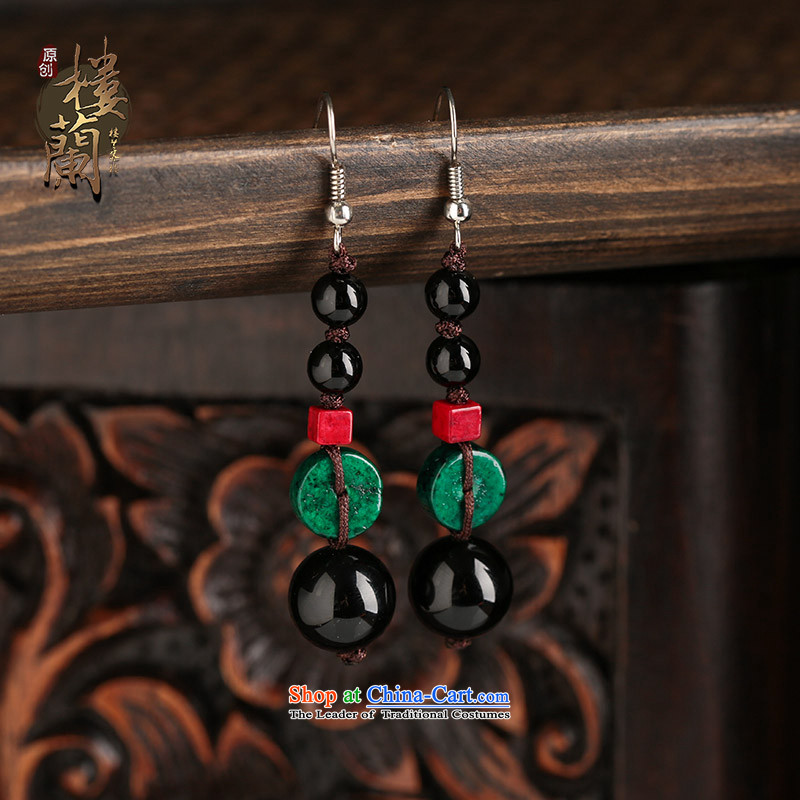 Sepia original ear ornaments black manually agate accessories female ethnic earrings ancient style ear fall arrest long-ear clip silver _Fit No Kungkuan plus 2 million