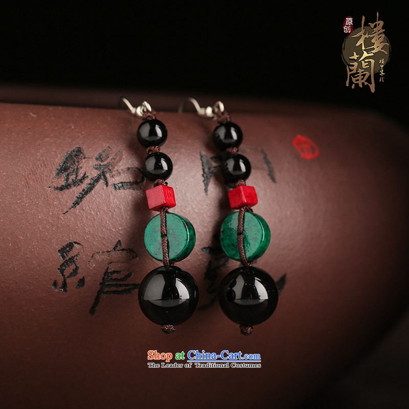 Sepia original ear ornaments black manually agate accessories female ethnic earrings ancient style ear fall arrest of聽925 Yingerh Cod check_ANTI-ALLERGY plus 2 million