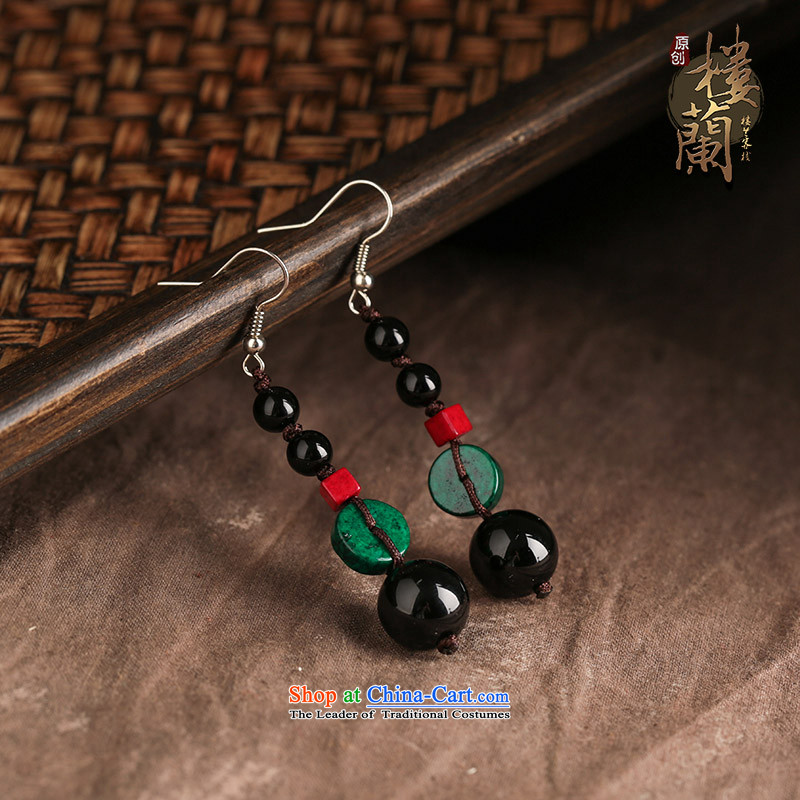 Sepia original ear ornaments black manually agate accessories female ethnic earrings ancient style ear Fall Arrest of ordinary alloy earhook __, not easy to deform the hardness is high