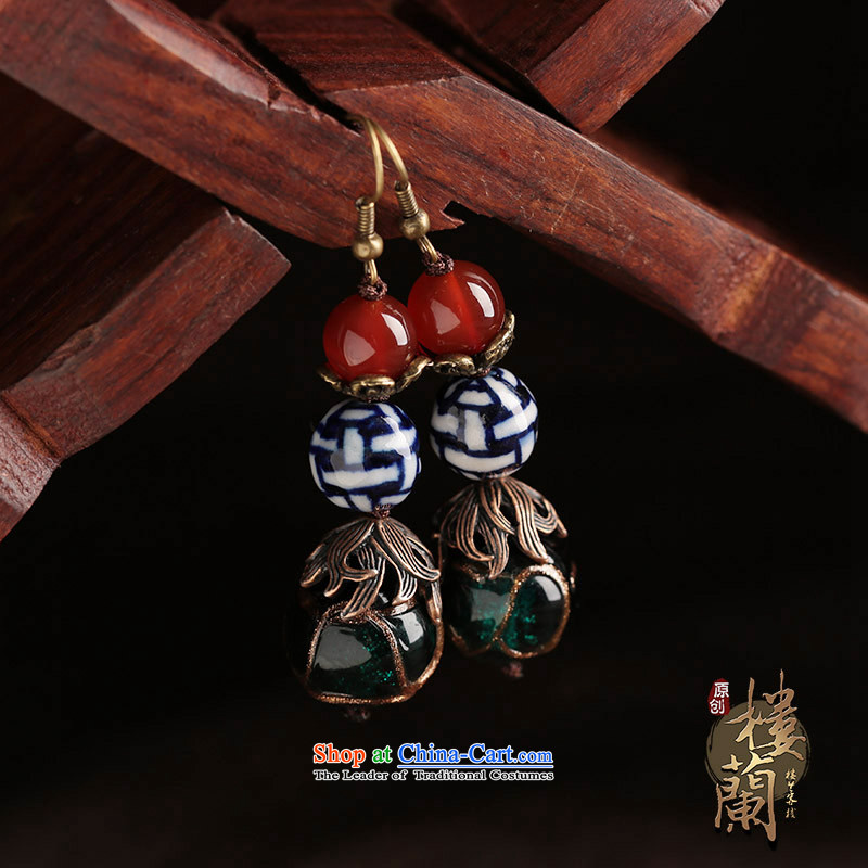 Original ethnic earrings porcelain Red Agate Pendant female retro Newworkshop Ear Ornaments between China wind Ear Clip copper-colored _Fit plus _2 No Kungkuan