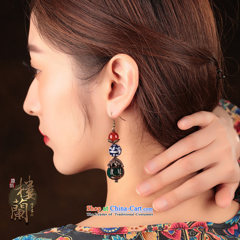 Original ethnic earrings porcelain Red Agate Pendant female retro Newworkshop Ear Ornaments China Wind聽925 Yingerh Cod check_ANTI-ALLERGY plus 2 million