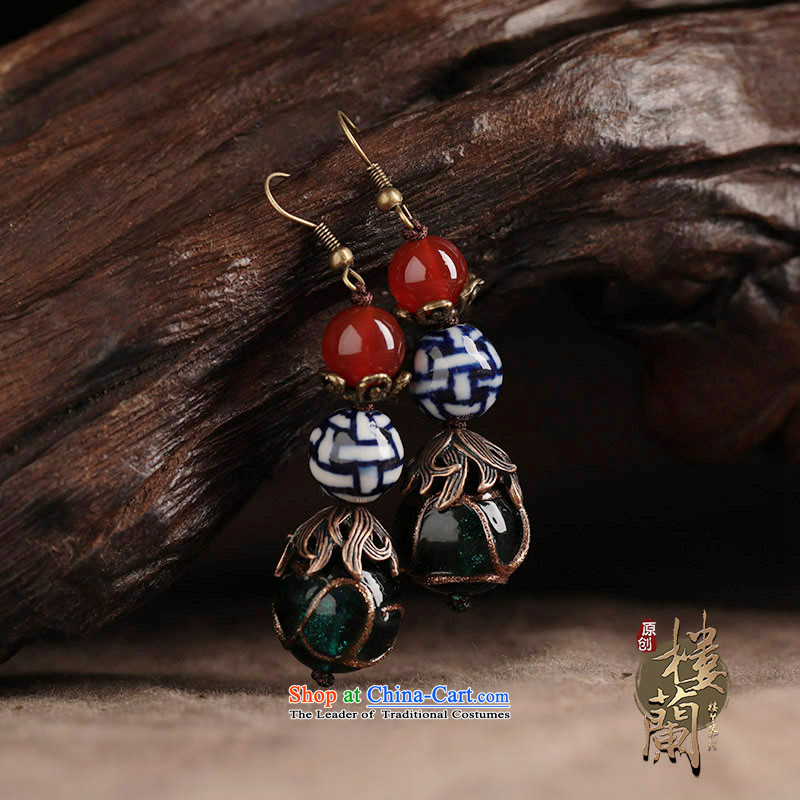 Original ethnic earrings porcelain Red Agate Pendant female retro Newworkshop Ear Ornaments China wind ordinary alloy earhook copper-colored __, not easy to deform the hardness is high