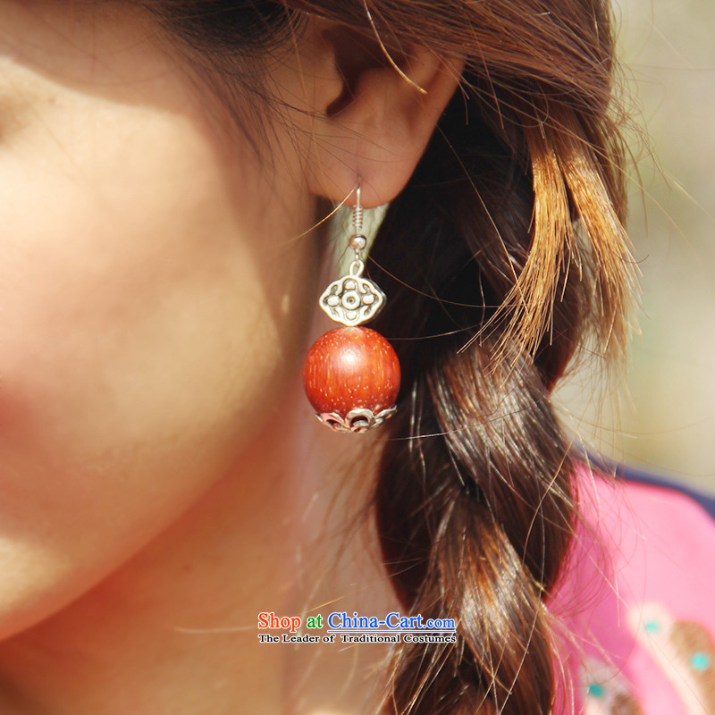Hanata for China wind minimalist India The anterial leaflet of the Red Sandalwood fungus ring with red qipao classic wooden bead ear fall arrest girls ancient silver alloy)