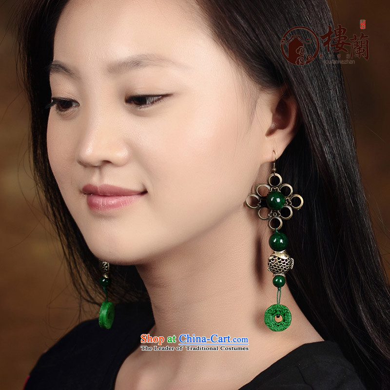 Green paint fish decorations long ethnic earrings retro ear Ancient Costume Ear Ornaments fall arrest girls聽925 Yingerh Cod check_ANTI-ALLERGY plus 2 million