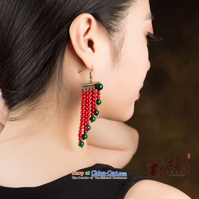Ancient Costume Jewelry China wind magenta stream Sioux nation wind earrings marriages fall arrest girls between the ear ear clip copper-colored _Fit plus _2 No Kungkuan