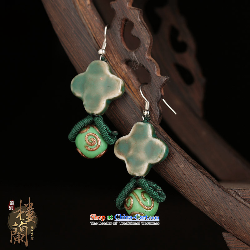 Ancient earrings sheikhs wind jewelry products gentlewoman short-fall arrester ceramic glaze Kungkuan ear ear ornaments ordinary alloy earhook __, not easy to deform the hardness is high