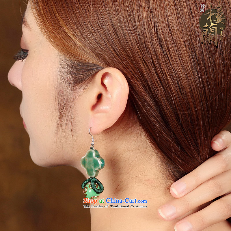 Ancient earrings sheikhs wind jewelry products gentlewoman short-fall arrester ceramic glaze Kungkuan ear ear ornaments switch Ear Clip Silver _Fit No Kungkuan