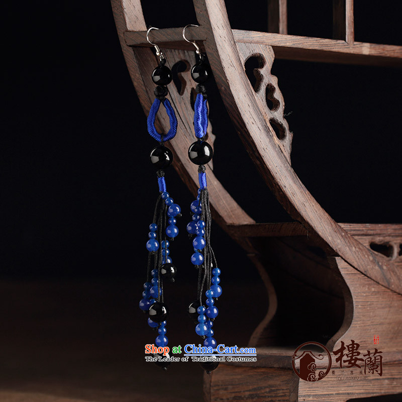 Ancient Costume earrings dark blue agate retro ethnic decorations female long temperament ear fall arrest ordinary alloy earhook __, not easy to deform the hardness is high