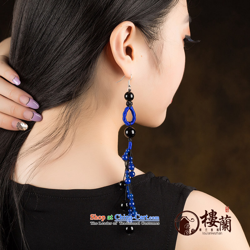 Ancient Costume earrings dark blue agate retro ethnic decorations female long ear fall arrest聽925 Yingerh Cod temperament check_ANTI-ALLERGY plus 2 million